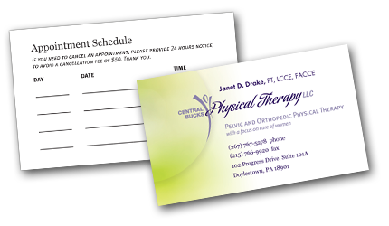 Business Card Design For Central Bucks Physical Therapy